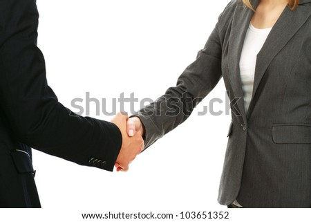 A business handshake, isolated on white background - stock photo