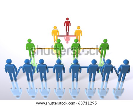 A business hierarchy structure - top to bottom - stock photo