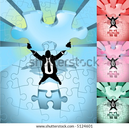 A business man completing a jigsaw puzzle,. Raster version - stock photo
