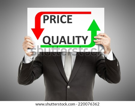 A business man holding a paper in front of his face with the text price quality - stock photo
