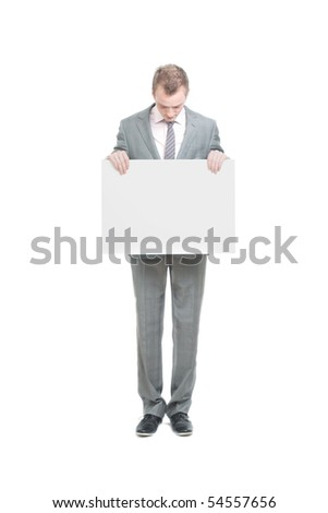 A business man holding an empty sign - stock photo