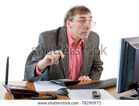a business man in an office works at the computer