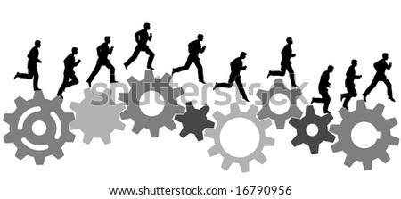 A business man runs in a hurry runs on a set of machine gears. Animation-like sequence of frames. - stock photo