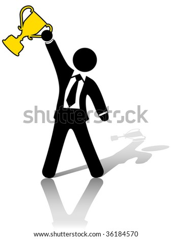 A business man symbol raises a trophy as an award in celebration of success. - stock photo