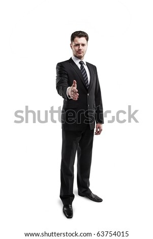 A business man with an open hand ready to seal a deal. isolated on white background