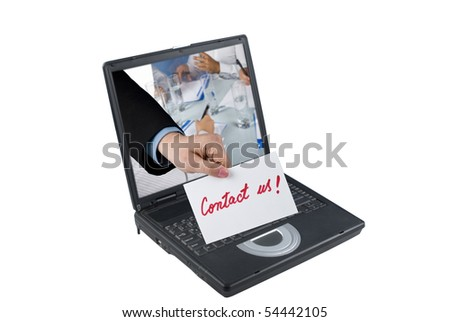 A business people hand holding a paper with contact us written hand concept of receiving a message through a laptop,as if the message was sent from a business meeting - stock photo
