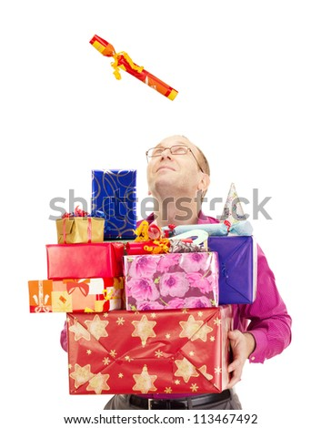 A business person catching a gift