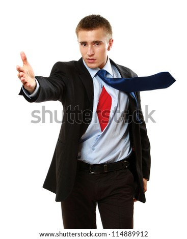 A business superman, isolated on white background - stock photo