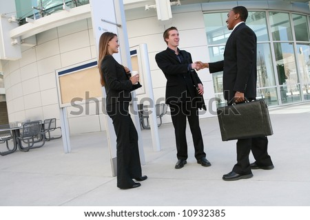 A business team (men and woman) shaking hands in agreement