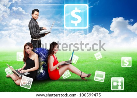 A Business team present Money icon on the sky on grass field : Elements of this image furnished by NASA