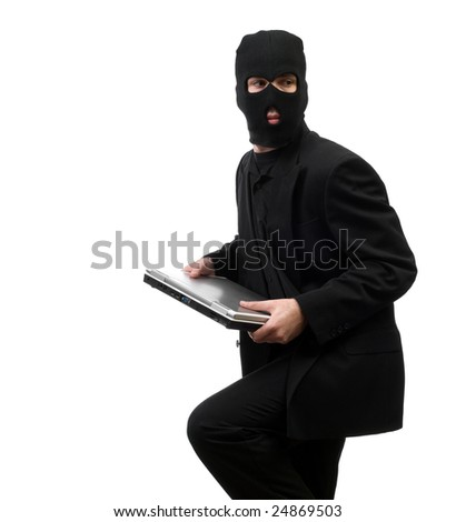 A business thief from inside a corporation is stealing company secrets, isolated against a white background - stock photo