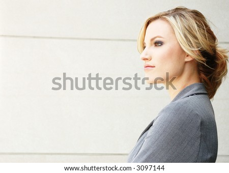 a business woman is envisioning the future - stock photo