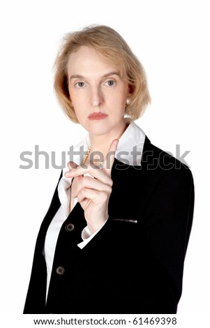 A business woman is very angry and shows her finger - stock photo