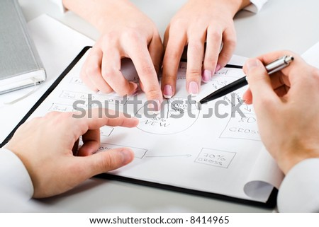 A business woman's hands demonstrating new resources of company