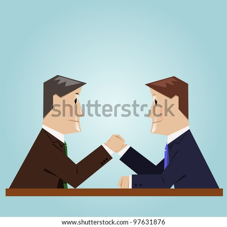 A businessman arm wrestling
