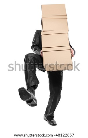 A businessman carrying paper boxes isolated on white background