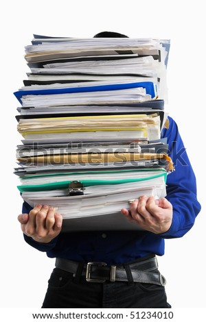 A businessman carrying pile of paperwork, over white background - stock photo