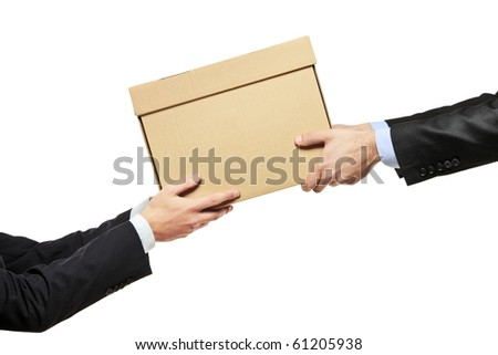 A businessman delivering a package to a man isolated on white background - stock photo