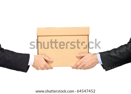 A businessman delivering a paper box to a man isolated on white background - stock photo