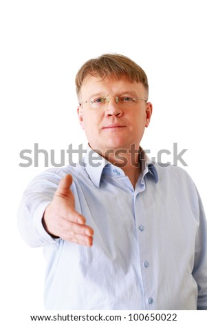 A businessman giving a hand, isolated on white background