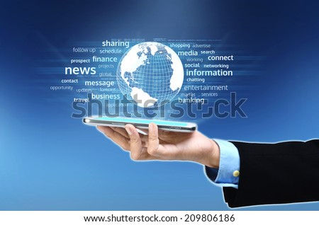 A businessman hand holding and showing the concept power of cloud computing internet technology in his hand - stock photo