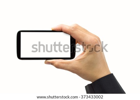 A businessman hand showing a smartphone with copyspace on white background - stock photo
