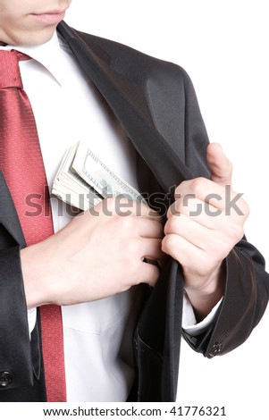 A Businessman Holding Money on white background
