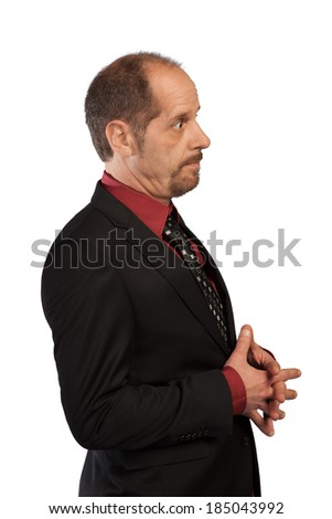 A Businessman in a brown study isolated on a white background. - stock photo