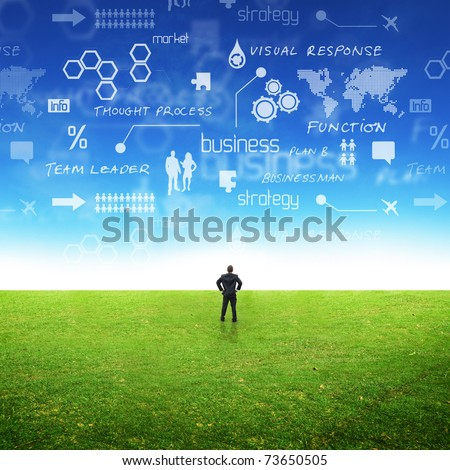 A businessman in a field with ideas in the sky. Conceptual - stock photo