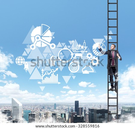 A businessman in a ladder is drawing some business diagram on the air. A cloud flowchart is over New York city view. - stock photo
