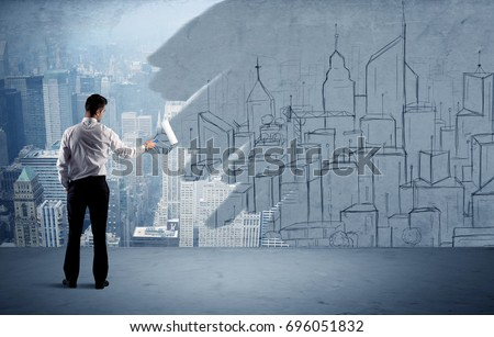 Businessman Elegant Suit Holding Paint Roller Stock Photo ...
