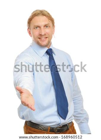 A businessman is offering to shake hand on white background - stock photo