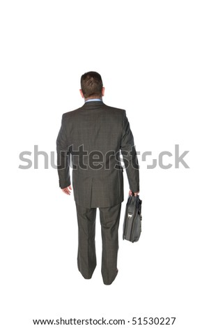 A businessman isolated on white walks away in a rear view fashion carrying his briefcase. - stock photo
