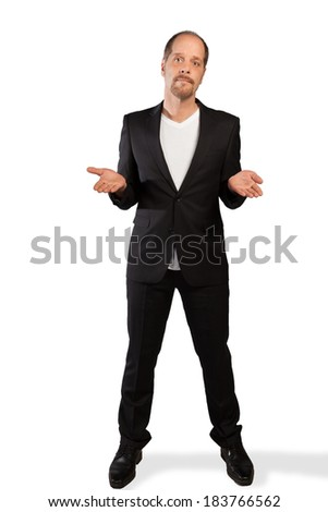 A Businessman opens his hands on a white background. - stock photo