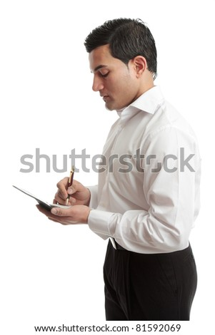A businessman or waiter wriring in a notebook or taking an order.  White background. - stock photo