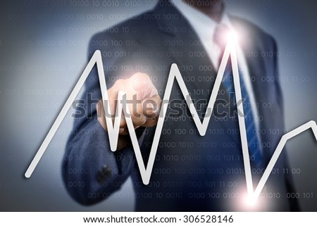 A businessman pointing data - stock photo