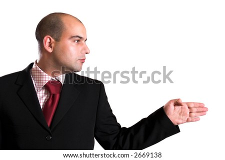 A Businessman pointing on white background
