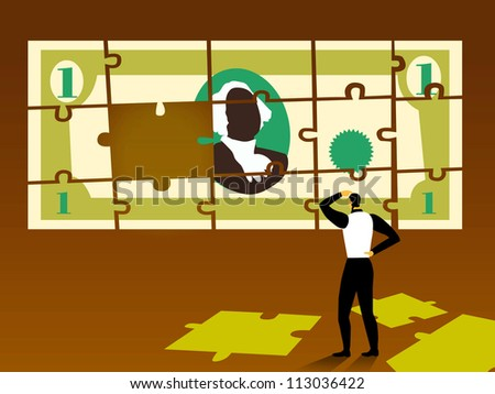 A businessman putting a puzzle together that is the shape of a dollar bill - stock photo