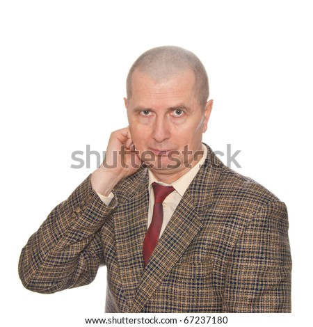 A businessman rubbing his neck. Isolated on white. Body language. Incompliance. noncompliance. - stock photo