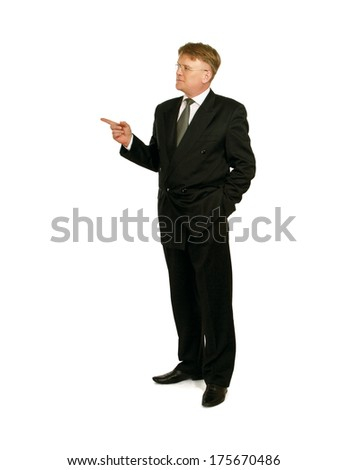 A businessman showing something - stock photo