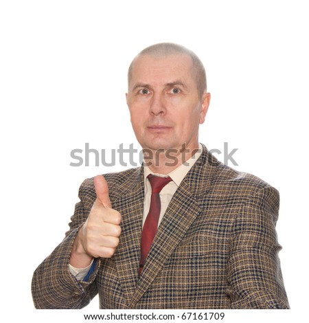 A businessman shows an okay symbol isolated on white background - stock photo