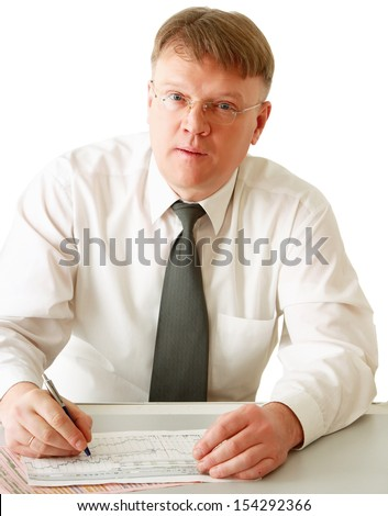 A businessman sitting on the desk , isolated on white background