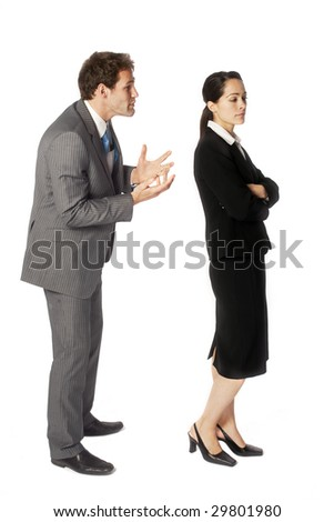 A businessman struggling to get his point across - stock photo