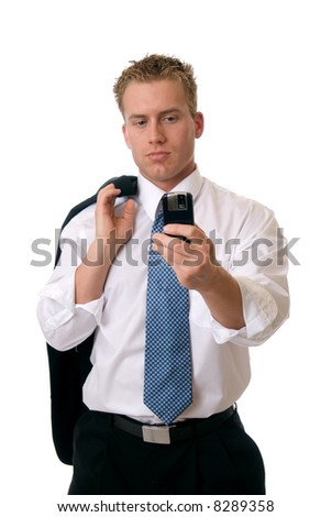 A businessman taking a picture with his cell phone - stock photo
