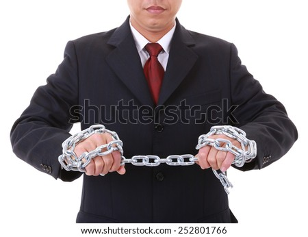 A businessman to make a pull  chain links - stock photo