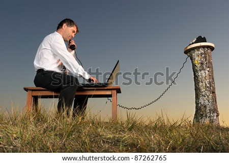 a businessman who phones in the countryside - stock photo