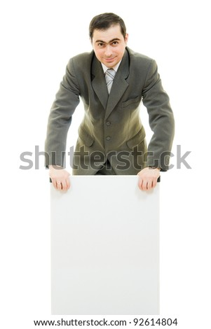 A businessman with a white board on a white background.