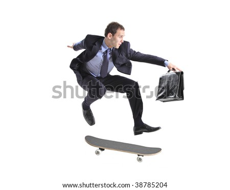 A businessman with skateboard jumping isolated on a white background - stock photo