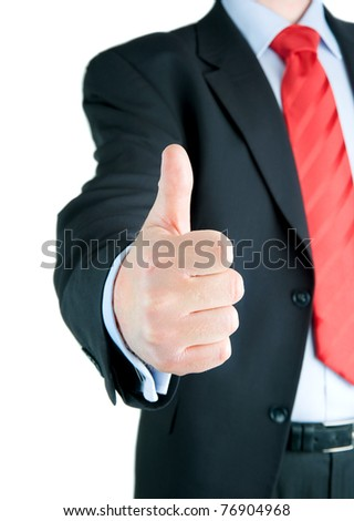 A businessman with thumb up