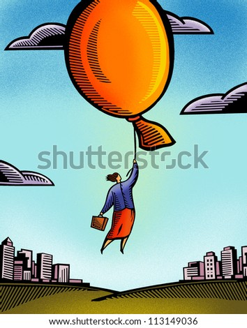 A businesswoman being carried away by a giant balloon - stock photo